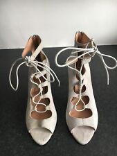 Bureau Taille 40 UK7 femme gris clair en Daim Ouvert Lacets Bout Ouvert Sandales Chaussures