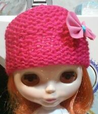 Blythe cute Dark Pink knitted hat , Outfit , doll not enclosed