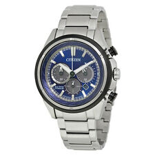 Citizen Eco-Drive Mens CA4240-82L Chronograph Blue Dial Titanium Bracelet Watch