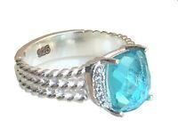 Designer Inspired Petite Albion Ring with Blue Topaz & Diamond Ring