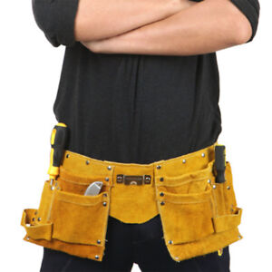 Leather Electrician Carpenter Nail Pouch WaistBag Nail Holder with waistband DF