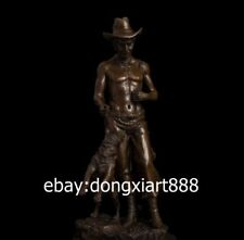 38 CM Western Art Deco Bronze Young Cowboy Strong Man Boy and his Dog Sculpture