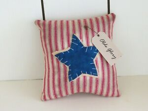 "5"" Handmade Primitive Patriotic Star Pillow with a Tag"