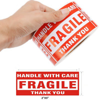 """500PCS 2""""x3"""" Fragile Handle with Care Thank You Mailing Labels Self Adhesive"""