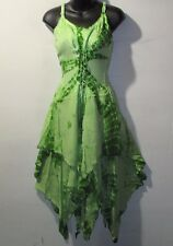 Dress Fits 1X 2X Plus Sundress Green Corset Lace Up Tie Dye Layered Hem NWT G209