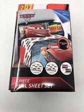 Disney Pixar Cars 3 Full Size Bed Sheet Set 4 Piece Lightning Mcqueen Bedding