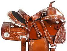 USED 15 TOOLED CHESTNUT BARREL RACING WESTERN HORSE TRAIL SADDLE TACK SET