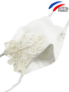 Masque de mariage en satin blanc et perles - Mariée cérémonie