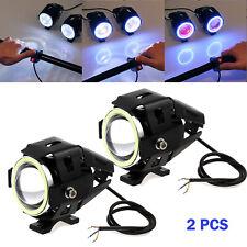 2x LED Motorcycle Motorbike U7 Headlight Driving Fog Spot Lights 125w Angle Eyes