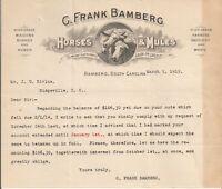 1915 Frank Bamberg Horse & Mules Bamberg SC Illustrated Letterhead