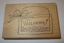 """Welcome Basket Rubber Stamp Large 4.5"""" Long Hearts Ribbon Imaginations Wood Mtd"""