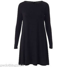 Ladies Women(Long)Sleeve Swing dress skater Party TopDresses Tunic Print t-shirt