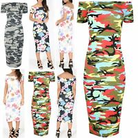 Womens Ladies Army Print Off the Shoulder Bodycon Bardot Short Sleeve Midi Dress