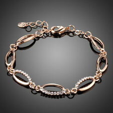 Fashion Rose Gold Plated Sparkling Clear White Rhinestone Friendship Bracelet
