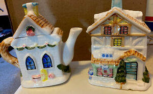 Collectible Ceramic Church And House Shaped Creamer And Sugar Cannister