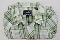 Roper Mens Cowboy Western Green/Brown Plaid Pearl Snap Long Sleeve Shirt Large