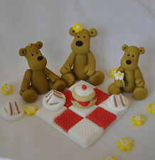 EDIBLE TEDDY-BEAR S PICNIC  BLANKET BOY GIRL BIRTHDAY CAKE TOPPER DECORATION