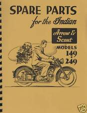 Vertical Indian Motorcycle ~ Arrow / Scout  149/249  Parts List / Manual Reprnt