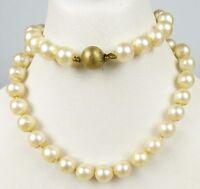 Perlen-Kette mit Schloß aus 333er Gold, original alt  (da4932)