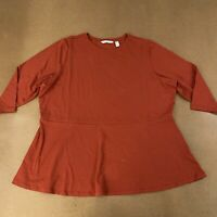 Isaac Mizrahi Live QVC Women's Plus Size 2X Terracotta 3/4 Sleeve Tunic NWOT