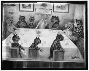 Christmas catastrophe,rat entree,escaped,eaten,turkey,cats,Louis Wain,c190 3842