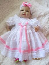 "HANDMADE CLOTHES FOR BABY 3-5mths /REBORN / doll 22"" White broderie/ Pink ribbon"