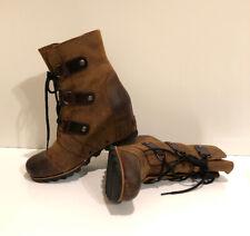 NEW! SOREL Joan Of Arctic Wedge Mid Women's 8 Brown BlackLeather Waterproof Boot