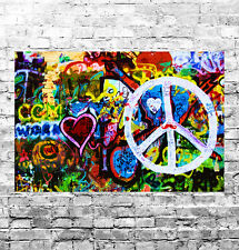 STUNNING ABSTRACT GRAFFITI POP ART #18 QUALITY FRAMED CANVAS PICTURE WALL ART