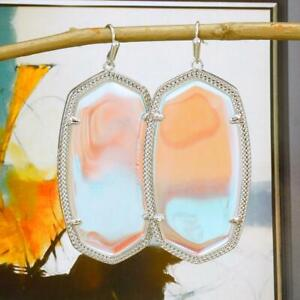 NWT Kendra Scott Danielle Dichroic Glass Earrings Silver Tone