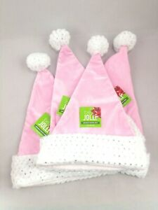 Be Jolly Pink Santa Hat Silver Sequins Christmas Holiday Felt Faux Fur Party Lot