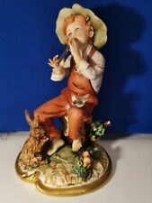 Capodimonte Porcelain Figurine Boy Playing Flute with Rabbit and Bird