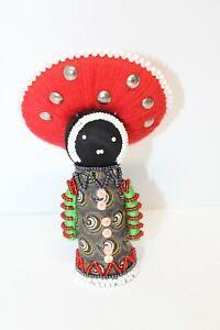 """Hand Beaded 6½"""" African Zulu Amachunu Matron Makoti Doll Great Kwanzaa Gift #21"""