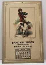 RARE Linden Michigan March 1914 BANK OF LINDEN Calendar Card 5x3 A Stroll G15
