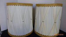 Vintage Retro Drum Mid Century Modern Table Desk Lamp Shade Vinyl Plastic Pair