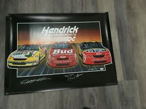 Auotgraphed Sam Bass Lithograph Jeff Gordon & Terry Labonte with JSA
