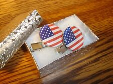 #2 (1 pair) United States FLAG design Silver Tone Hair Clips-Barrettes    New