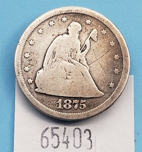 WPCoins ~ 1875-S $0.20 Cent Coin - Note 'X' on Obverse