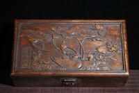 Collect Dynasty palace huali Wood carved lotus Mandarin duck Storage Box jewelry
