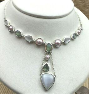 Avon Necklace White Cat's Eye Glass faux Blush Pearl Peridot Silvertone Choker 1