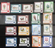 1977 Gibraltar SCSG374//389 Fine used Set QEII birds flowers