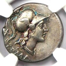 Roman Anonymous AR Denarius 115 BC - NGC Choice XF - 5/5 Strike, Rainbow Tone!