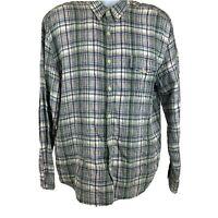 Lucky Brand Button Down Shirt Linen XL Men's Plaids Green Long Sleeve