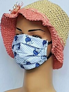 💙 COTTON FLORAL Double Layer Face MASK COVERING BLUE ROSES REUSABLE WASHABLE