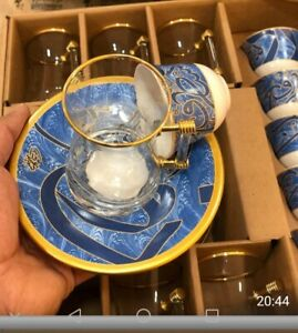 6 set tea and 6 coffee set  +6 lips + handmade Turkish made traditional