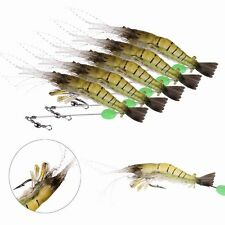 5PCS Noctilucent Silicone Simulation Prawn Shrimp Fishing Lure Hook Bait New