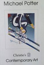 """Michael Potter 1980  Vintage Poster """"Skier"""" Fabulous Color & Detail"""