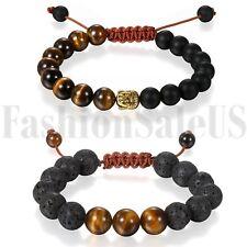 2pcs Men Women 8MM Black Lava Rock Stone Yoga Mala Beaded Chain Wrist Bracelet