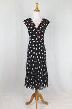 Adrianna Papell Black and White Polka Dot 100% Silk 1930's 40's Inspired Dress 4
