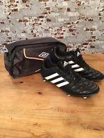 ADIDAS FOOTBALL BOOTS GOLETTO V SG STUDS UK 10.5 BLACK BLUE UMBRO BOOT BAG