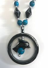 a circle pendant- dark turquoise beads Fashion Necklace - Hematite- Dolphin in